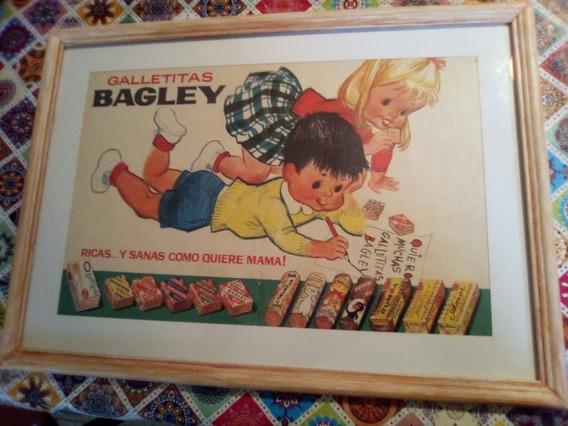 Galletitas Bagley. Antigua Publicidad. Con Marco Y Vidrio