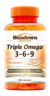 Triple Omega 3 6 9 Com Vitamina E 120 Caps Sundown Naturals