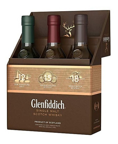 Whisky Glenfiddich Taster Set 3 Bot X 200ml 12, 15 Y 18 Años