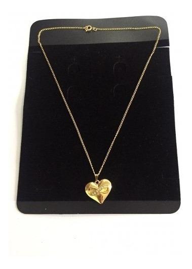 Colar Feminino Coração Com Simbolo Infinito Strass Dourado