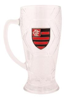 Caneca Do Flamengo De Vidro Com Brasão De Inox 630 Ml