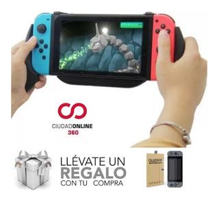 Grip Nintendo Switch Con Carga Accesorios + Vidrio Templado