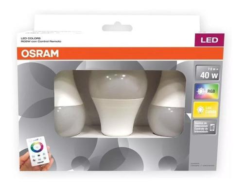 Imagen 1 de 8 de Lámpara Led Osram 7.5w Rgb Dimerizable C/control E27 X3 - E. A