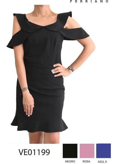 Vestido Con Olanes Negro Chica