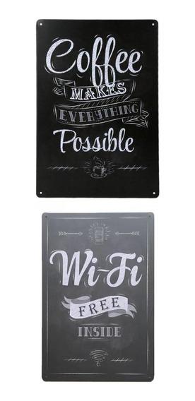 2x Placa De Metal De Estanho Café Bar Bar Cafés Café & Wifi