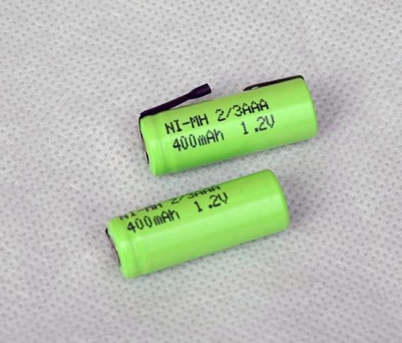 2 Bateria Recarregável Ni-mh 1.2v 400mah 2/3aaa C/terminal