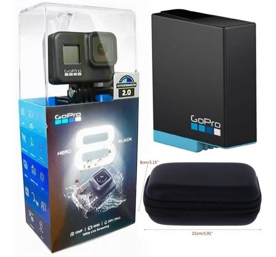 Cam. Gopro Hero 8 Black + Bateria Extra Orig. + Acessórios