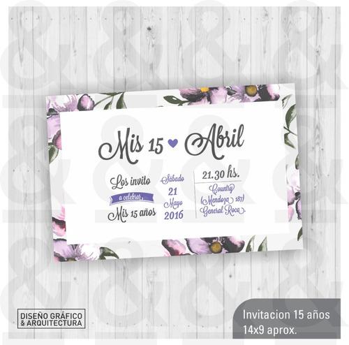 Diseño Tarjeta Invitación Imprimible 15 Años Flores