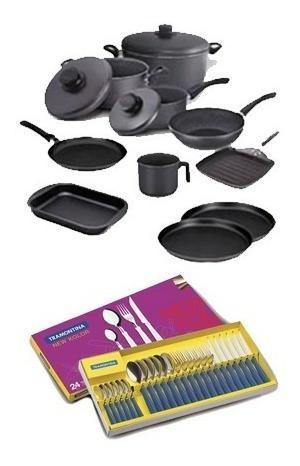 Set Bateria Tramontina 10 Teflon Y Cubiertos New Kolor 24p