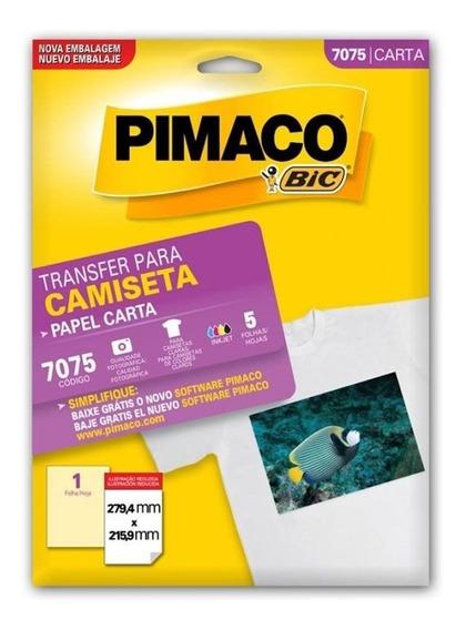 Papel Transfer Para Camisas 279,4x215,9 Com 5 Fls Pimaco