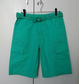 Bermuda Masculina Roupa Juvenil 16 Verde Água C/ Cinto