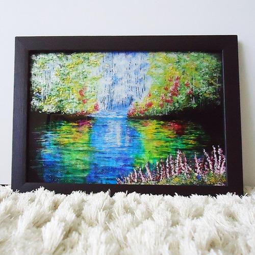 Pintura No Vidro Lago Misterioso Em Verniz Vitral