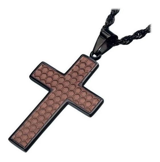 Corrente De Aço Preto Inoxidavel Com Crucifixo Marrom Inox