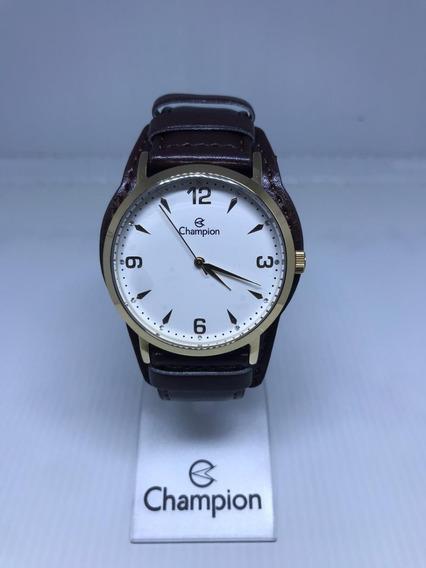 Relógio Champion Couro Dourado Cn20328b