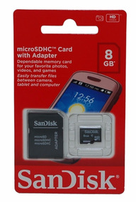 Cartao De Memoria Micro Sd Sandisk 8g Com Adaptador Lacrado