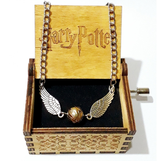 Cajita De Música Harry Potter Con Colgante Snitch Dorada