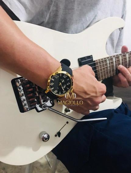 Relógio Technos Masculino Silicone Preto Dourado 2115kqa/k8p Original - Com Canivete De Brinde