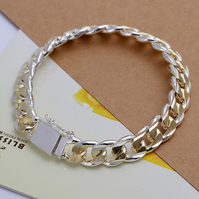 Pulseira Masculina Prata Elo Grumet Com Detalhes Ouro - J645