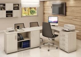 Mesa Escrivaninha Home Office Completa + Gaveteiro E Armário