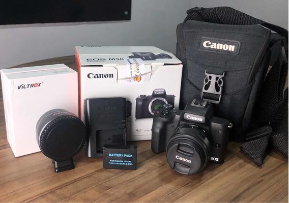 Câmera Canon M50 + 15-45 + Adaptador Viltrox + Bateria Extra