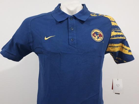 Playera Nike América Polo Pique Algodón Azul 2007 08 Utileri