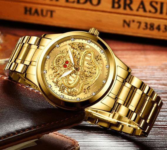 Relógio Masculino Dragão Dourado Aço Inox Prova D