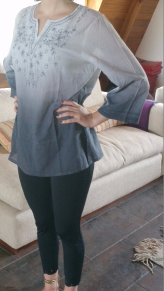 Camisola Gris Con Strass Talle M/l