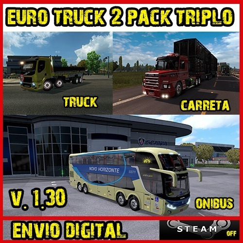 Euro Truck Simulator 2 Pc - Mod Brasil 3 Em 1
