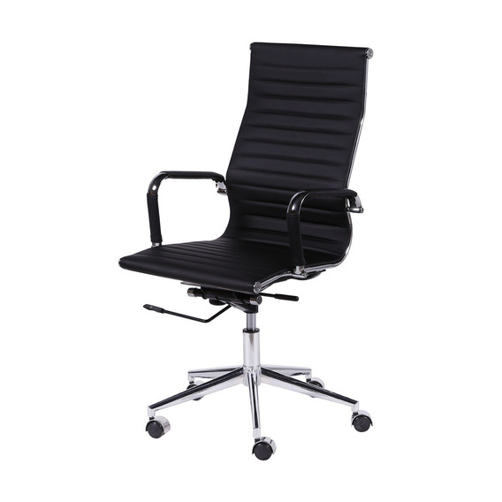 Cadeira Escritorio Presidente Giratória Alta Eames Preta