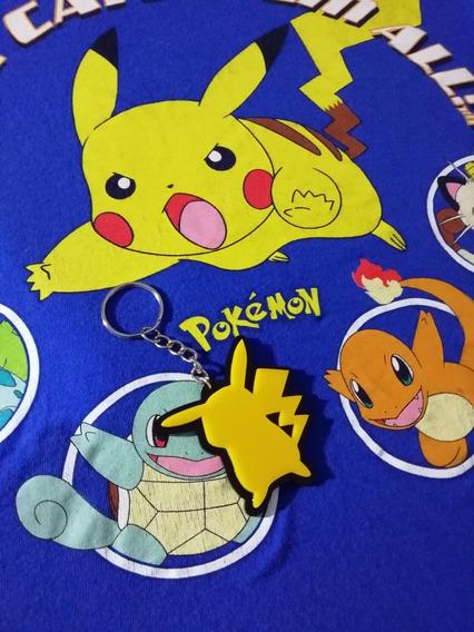 Playera Pokémon Xs Juvenil + Llavero Pikachu