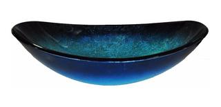 Bacha Baño Vidrio Oval Color Azul 50 X 36.5