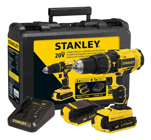 Taladro Percutor 20v + 2 Baterías Stanley Sch201c2k-b2c