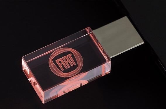 Pen Drive 16gb Cristal Fiat Vermelho + Caixa Portátil