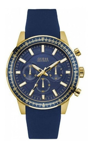 Reloj Guess Hombre Crono Caucho Azul Dorado W0802g2