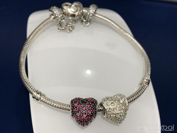 Charm Corazón Heart Compatible Pandora Baño Plata Cristales
