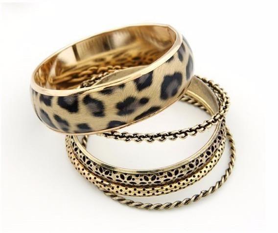 Conjunto 5 Pulseiras Linda Bijoux Acessórios Onça Dourado