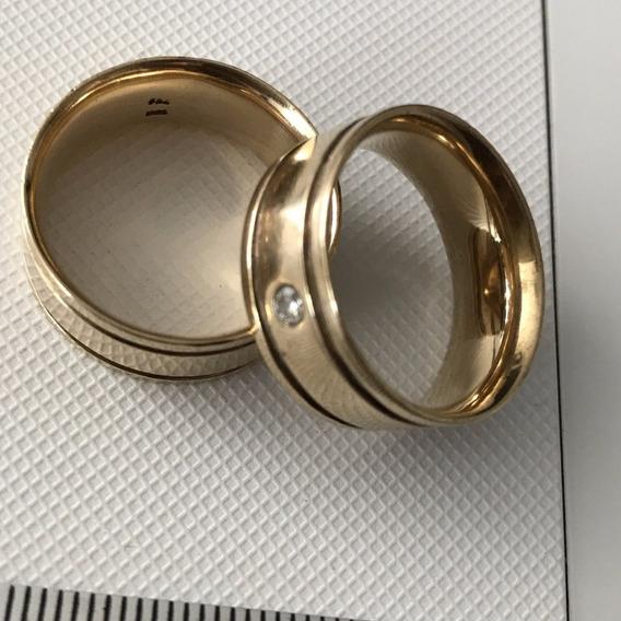 Alianças Ouro 18k-750 Com Diamante, Peso: 20,2 Gr