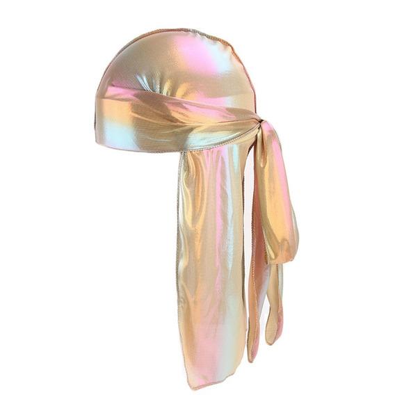 Unisex Silklike La-ser Polyester Bandana Hat Durag Rag Tail
