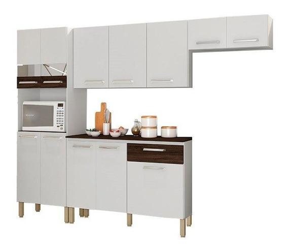 Cozinha 12 Portas Versalhes Branco White/petróleo - Lc Móvei