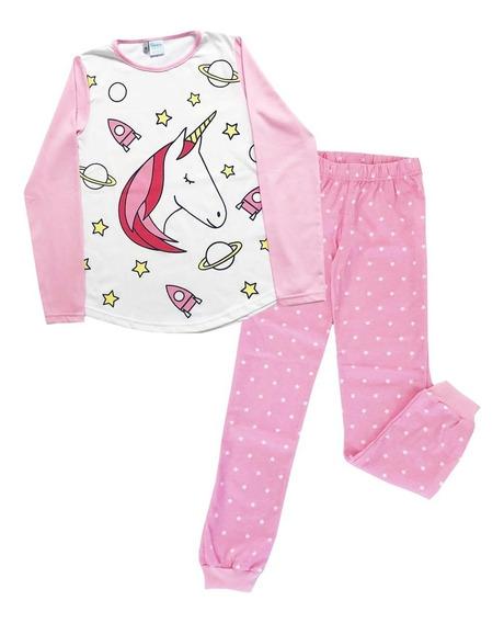 Pijama Manga Larga Niñas Unicornio Boneco Mundo Manias