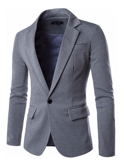Elegante Blazer Saco Slim Fit Cuello Mao Formal Casual Hombr
