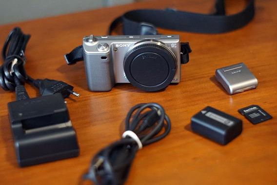 Camera Sony Alpha Nex 5 Corpo + Flash Leia