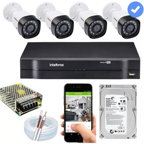 Kit Cftv 4 Câmeras Multi Hd 720p 1mp Dvr Intelbras Mhdx 1004