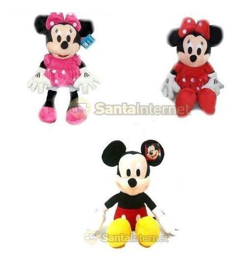 Kit 2 Pelucia 50cm Minnie Rosa Ou Vermelha Ou Mickey