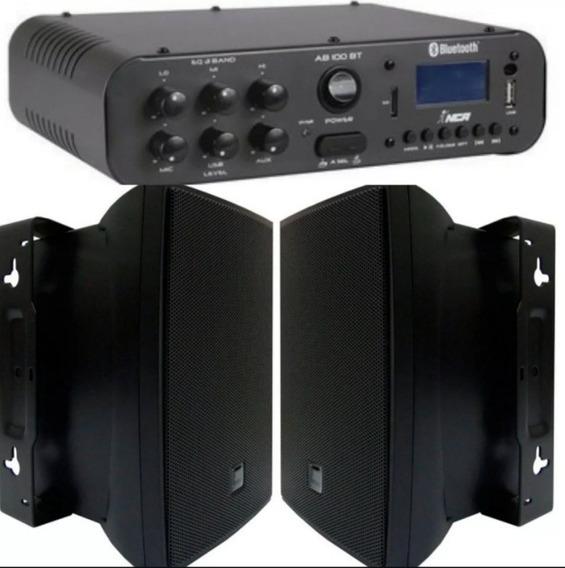 Amplificador Nca Ab100 100w 2 Caixa Jbl C621 100w Qualidade