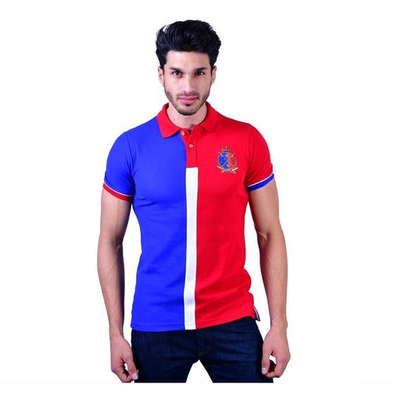 Camisa Polo Porto Blanco Algodon Hombre Azul Y Rojo