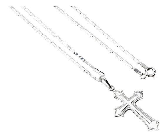 Corrente De Prata 70cm E Pingente Crucifixo Masculino Maciço