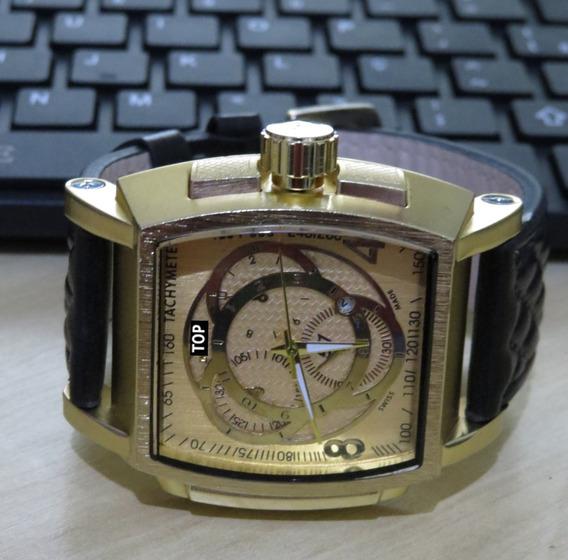 Relógio Quadrado Dourado T O P Couro Masculino Oferta C145