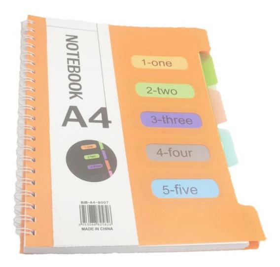 Caderno A4 100 Folhas Espiral Moderno Divisórias