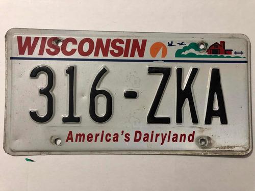 Placa Americana Wisconsin Colección O Decoración